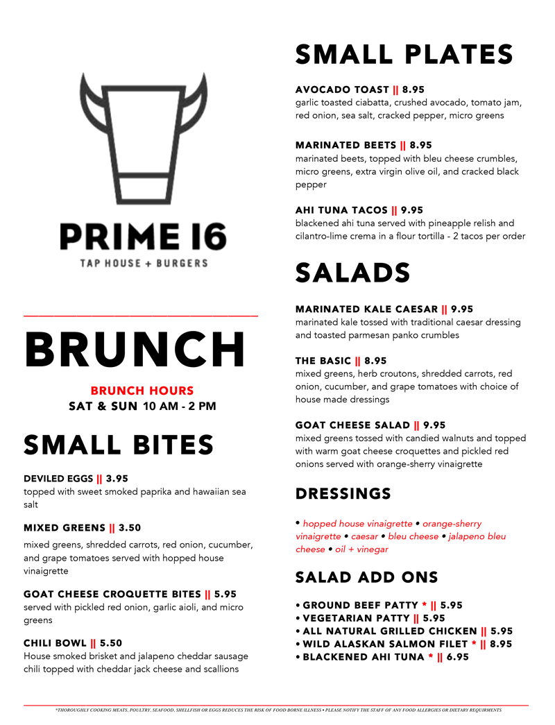 Prime 16 orange brunch menu for Best brunch menu